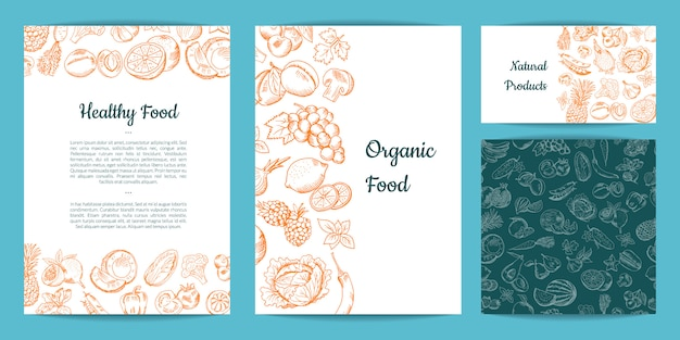 Vector hand drawn fruits and vegetables card, brochure, flyer, business card template