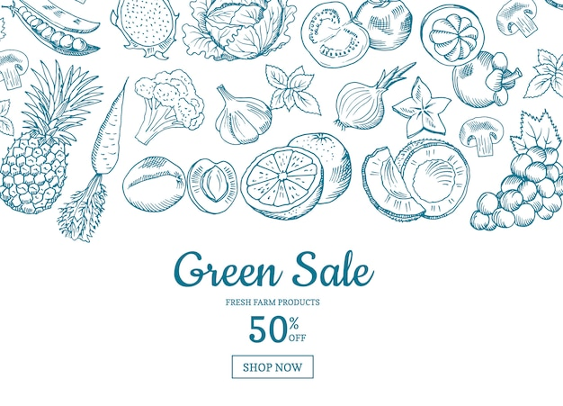 Vector hand drawn fruits and vegetables horizontal sale background. green sale banner illustration