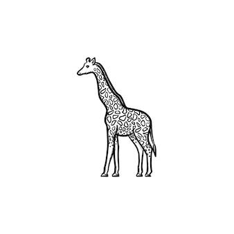 벡터 손으로 그린 기린 개요 낙서 아이콘입니다. 인쇄, 웹, 모바일 및 흰색 배경에 고립 된 Infographics에 대 한 기린 스케치 그림. 프리미엄 벡터