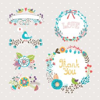 Vettore disegnato a mano fiori grafici e ghirlande impostati per inviti e biglietti di auguri