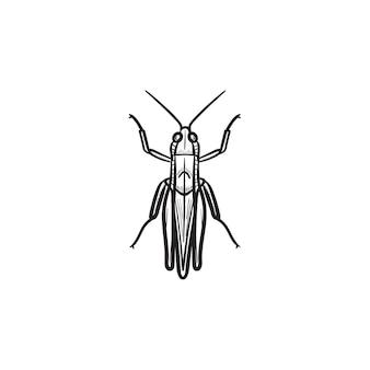 벡터 손으로 그린 메뚜기 개요 낙서 아이콘입니다. 인쇄, 웹, 모바일 및 흰색 배경에 고립 된 infographics에 대 한 메뚜기 스케치 그림.