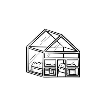 벡터 손으로 그린 온실 개요 낙서 아이콘입니다. 인쇄, 웹, 모바일 및 흰색 배경에 고립 된 infographics에 대 한 온실 스케치 그림.