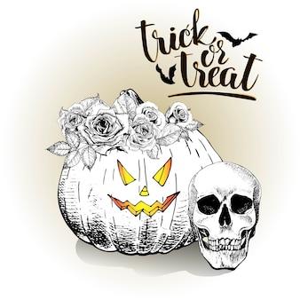 Vector hand drawn halloween pumpkin. trick or treat.