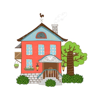 Vector hand drawn icon house