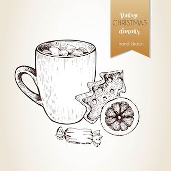 Vector hand drawn illustartion of cocoa cup, gingerbread cookie, orange slice and candy. christmas decoration.