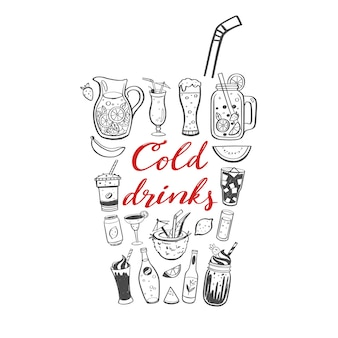 冷たい飲み物と夏の飲み物のベクトル手描きイラストと手書き書道。