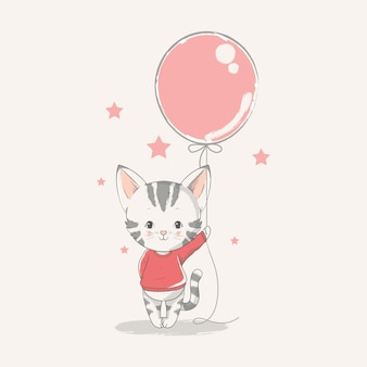 Vector hand drawn illustration of a cute baby kitten with a balloon.