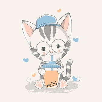 Vector hand drawn illustration of a cute baby kitten with a ice tea.