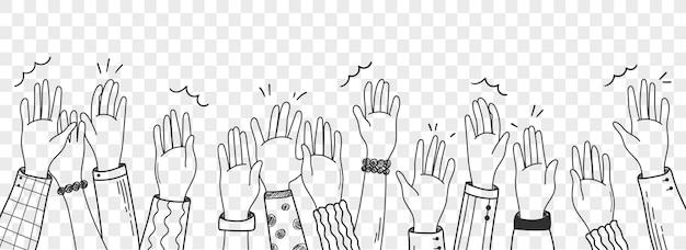 벡터 손으로 그린 그림 인간의 손에 흰색 배경에 고립 흔들며. 군중, 파티