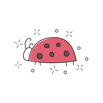 Vector hand drawn illustration of ladybug isolated on white background. great for kids and children designs of clothes, apparel, toys, mobile games and web sites