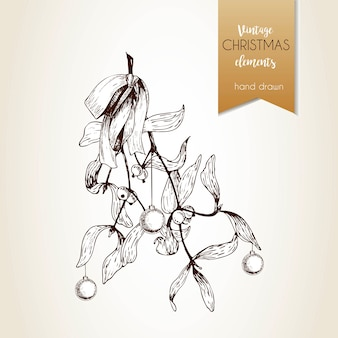 Vector hand drawn illustration of mistletoe branches bounded with bow. christmas engraved decoration.