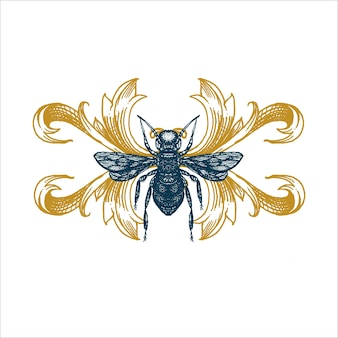 Vector hand drawn illustration of a BEE