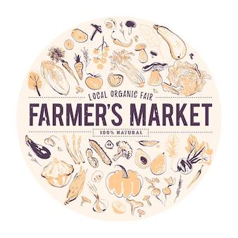 新鮮な生野菜のベクトル手描きイラストスケッチスタイル食品フェアアンプファーマーズマーケットのバナー健康食品要素セットトマトキュウリビートタマネギなど収穫に適したポスタータグ