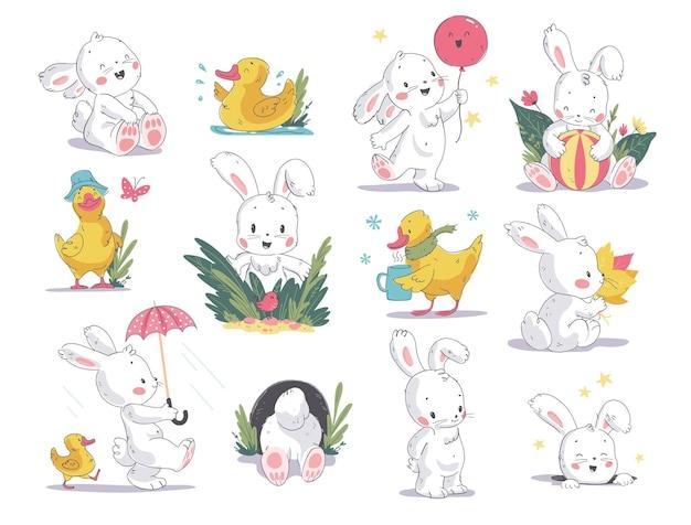 흰색 배경에 격리된 귀여운 흰색 토끼와 노란색 작은 오리가 있는 벡터 손으로 그린 그림. 베이비 샤워 초대장, 생일 카드, 스티커, 지문, 강림절 달력 등에 좋습니다.