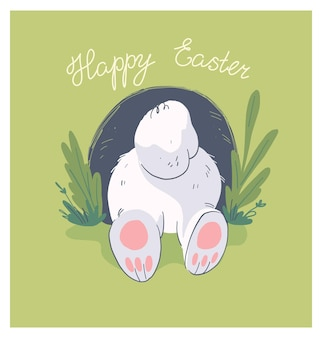 Vector hand drawn illustration with cute little baby rabbit butt in hole isolated on background. good for happy easter lovely card, baby shower party print, birthday poster, tag, banner, sticker etc.