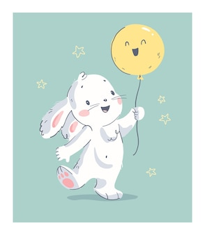 Vector hand drawn illustration with cute little baby rabbit hold air balloon isolated. for lovely happy birthday card, nursery print, baby shower party poster, gift tag, banner, sticker, invitation.