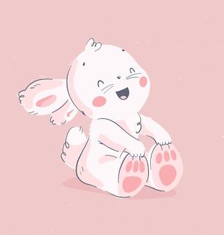 かわいい小さな赤ちゃんウサギがピンクの背景に分離されて座って笑うベクトル手描きイラスト。素敵なハッピーバースデーカード、保育園のプリント、子供のポスター、タグ、バナー、ベビーシャワーのステッカーなどに。