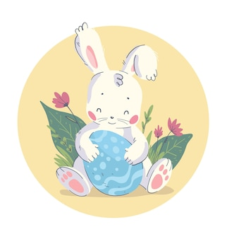 Vector hand drawn illustration with cute little baby rabbit sitting in grass with big easter egg isolated. good for happy easter congratulation, lovely card, nursery print, poster, tag etc.