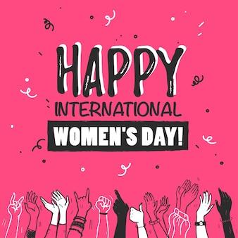 幸せな国際女性の日とスケッチスタイルの女の子の手をピンクの背景で隔離を祝う異なる肌の色で手描きイラストをベクトルします。パーティーバナー、カード、招待状などに。