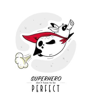 テキストと面白い豚のスーパーヒーローのキャラクターと白い背景で隔離黄色のマントで手描きイラストをベクトルします。コミックスタイル。印刷デザイン、カード、パッケージ、バナー、装飾などに適しています。