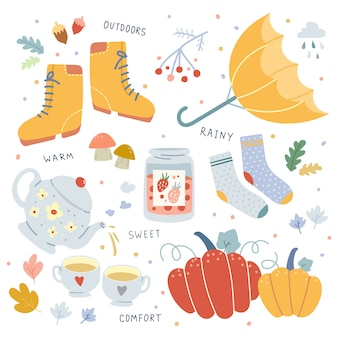 Vector hand drawn illustrations of autumn seasonal attributes.