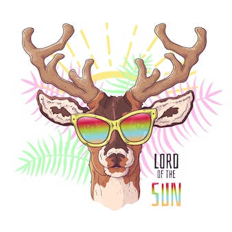 Vector hand drawn illustrations. portrait of cute realistic deer in glasses.