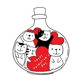 Vector hand drawn jar with cat and hearts.