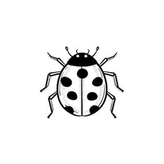 벡터 손으로 그린 무당벌레 개요 낙서 아이콘입니다. 인쇄, 웹, 모바일 및 흰색 배경에 고립 된 인포 그래픽에 대 한 무당벌레 스케치 그림.