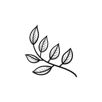 枝のアウトライン落書きアイコンに手描きの葉をベクトルします。白い背景で隔離の印刷物、ウェブ、モバイル、インフォグラフィックのブランチスケッチイラストを残します。