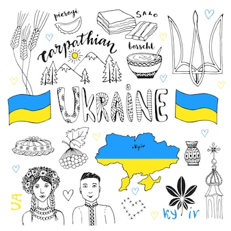 Vector hand drawn line art set of ukraine signs and people characters. ukrainian icons collection with tradition food