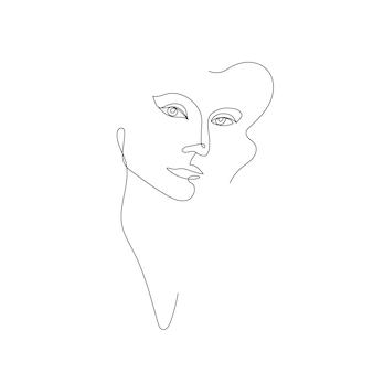 ベクトル手描き線形アート女性の顔の連続線ファッションコンセプトフェミニンな美しさ