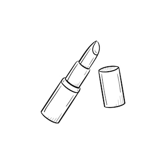 ベクトル手描きの口紅のアウトライン落書きアイコン。白い背景で隔離の印刷物、ウェブ、モバイル、インフォグラフィックの口紅スケッチイラスト。