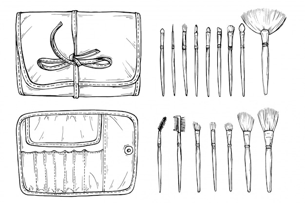 Vector hand drawn make up case with brushes