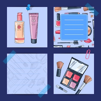 Vector hand drawn makeup products