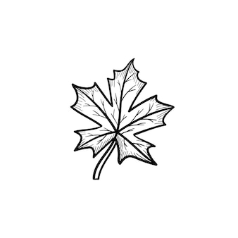 Vector hand drawn maple leaf outline doodle icon. maple leaf sketch illustration for print, web, mobile and infographics isolated on white background.