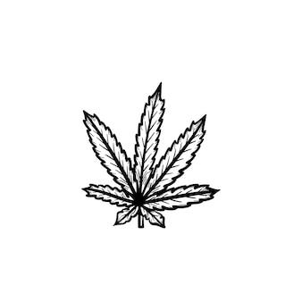 벡터 손으로 그린 마리화나 잎 개요 낙서 아이콘입니다. 흰색 배경에 고립 된 인쇄, 웹, 모바일 및 infographics에 대 한 마리화나 잎 스케치 그림.
