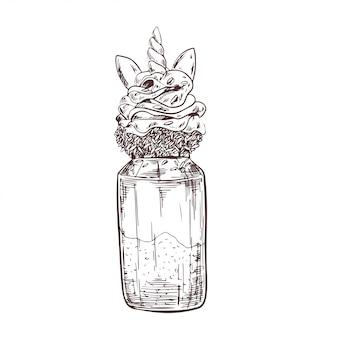 Vector hand drawn milkshake illustration