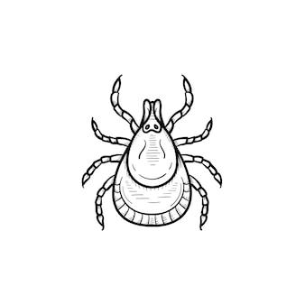벡터 손으로 그린된 진드기 개요 낙서 아이콘입니다. 인쇄, 웹, 모바일 및 흰색 배경에 고립 된 infographics에 대 한 진드기 스케치 그림.