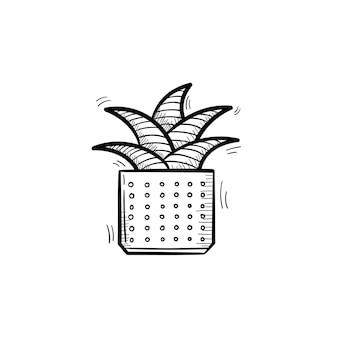 ベクトル手描きの義母の舌植物のアウトライン落書きアイコン。白い背景で隔離の印刷、ウェブ、モバイル、インフォグラフィックの装飾的な鉢植えの観葉植物のスケッチイラスト。