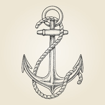 Vector hand drawn nautical anchor. element ship, drawing vintage, rope marine