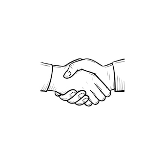 핸드셰이크 개요 낙서 아이콘의 벡터 손으로 그린. 흰색 배경에 격리된 인쇄, 웹, 모바일 및 인포그래픽을 위한 비즈니스 팀, 협력 및 거래 스케치 그림의 악수 개념.
