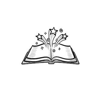 Vector hand drawn open magic book with stars outline doodle icon