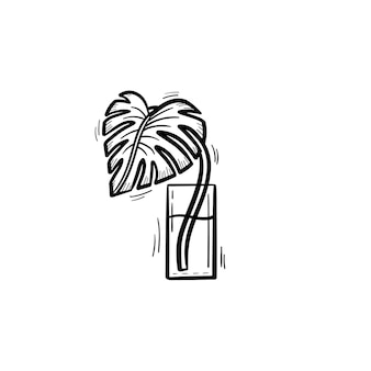 水の輪郭の落書きアイコンのガラスに手描きのヤシの芽をベクトルします。白い背景で隔離の印刷物、ウェブ、モバイル、インフォグラフィックのヤシの葉のスケッチイラスト。