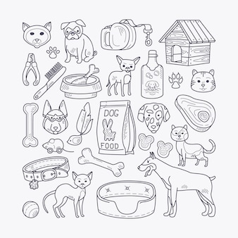 Vector hand drawn pets