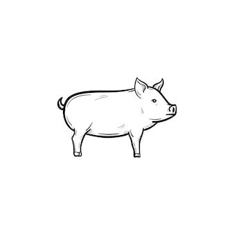벡터 손으로 그려진된 돼지 개요 낙서 아이콘입니다. 인쇄, 웹, 모바일 및 흰색 배경에 고립 된 infographics에 대 한 돼지 스케치 그림.