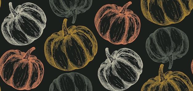 Вектор рисованной тыквы бесшовные модели. бесконечные овощи хэллоуин фон. для оберточной бумаги, уличного фестиваля, фермерского рынка, загородной ярмарки, магазина, меню, кафе, ресторана