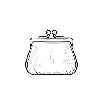 ベクトル手描きの財布のアウトライン落書きアイコン。白い背景で隔離の印刷物、ウェブ、モバイル、インフォグラフィックの財布スケッチイラスト。