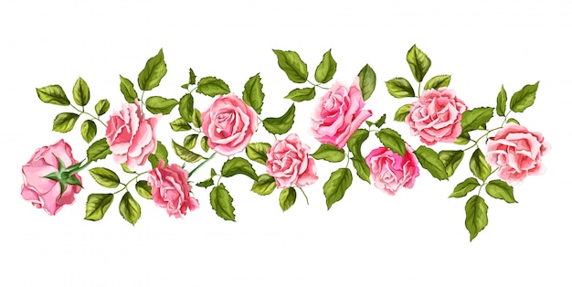 Vector hand drawn rose flower blossom with leaves pattern