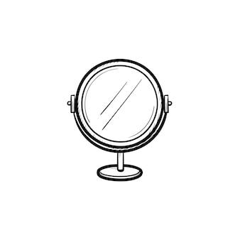 벡터 손으로 그린 라운드 메이크업 거울 개요 낙서 아이콘. 인쇄, 웹, 모바일 및 흰색 배경에 고립 된 infographics에 대 한 라운드 메이크업 거울 스케치 그림.