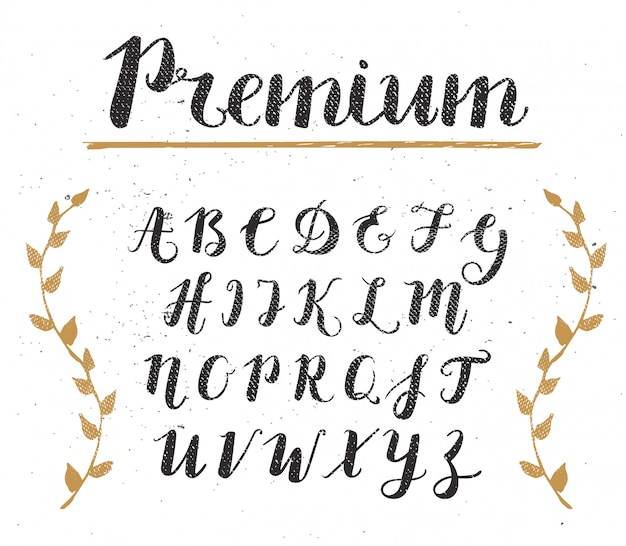 Vector hand drawn script alphabet